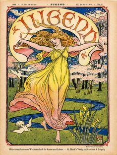 Magazine cover Jugend 17 December 1898. Jugendstil, art nouveau, art deco.