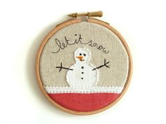"Embroidered Christmas Decoration - 'Let it snow' Christmas hoop in white & red - 4"" hoop. £17.00, via Etsy."