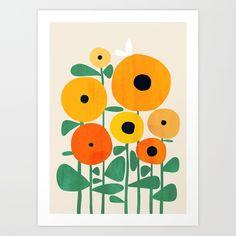 Sunflower And Bee Framed Mini Art Print by Picomodi - White - x Sunflower Illustration, Illustration Blume, Framed Art Prints, Canvas Prints, Bee Art, Art Plastique, Art Projects, Illustrations, Wall Art