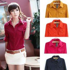 # 5860 Primavera, Outono, Desfile de Moda Fina Cotton Corduroy mulheres camiseta manga comprida Blusas 5 cores em Blusas - Feminino de Roupa...