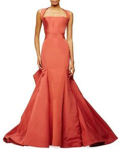 Zac Posen Halter-Neck Trumpet Gown, Crimson #luxury #hautecouture #designer