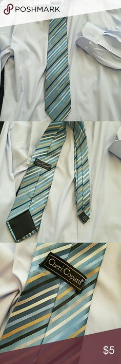Cheri Copain Blue striped tie This multicolored striped tie pairs well with many different color shirts. It does have a small water stain on bottom of tie and the back labels stitching is undone. Accessories Ties
