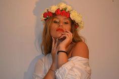 Girl, blonde, Flower, crown