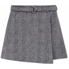 Checkered Belted Skort (270 CNY) ❤ liked on Polyvore featuring skirts, mini skirts, high waisted mini skirt, golf skirts, asymmetrical skort, checked skirt and high-waist skirt