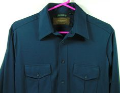 1970s polyester shirt mens large navy blue disco by moivintage, $14.99