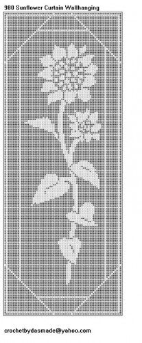 980 Sunflower Filet Crochet Doily Tablemat Curtain Pattern | CROCHETBYDASMADE - Patterns on ArtFire
