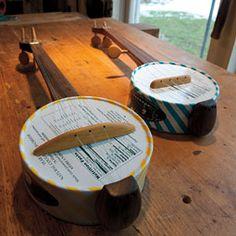 Banjos made from cougar cheese boxes