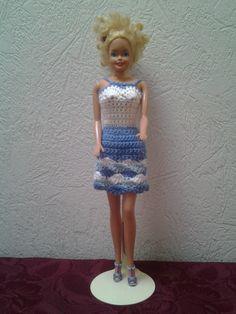 blauw wit barbie jurkje