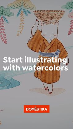 Watercolor Paintings For Beginners, Watercolour Tutorials, Watercolor Art Lessons, Watercolor Techniques, Abstract Watercolor, Watercolor And Ink, Watercolor Illustration, Japanese Artwork, Japanese Painting