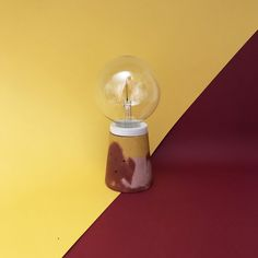 Coloured cement lamp with plywood detail by bonito. Concrete Lamp, Cement, Natural Materials, Plywood, Objects, Detail, Handmade, Color, Design