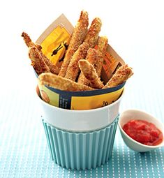 Baked Zucchini Fries with Tomato Coulis Dipping Sauce Photo - Summer Sides Recipe | Epicurious.com