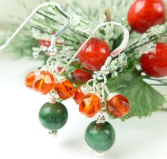 Green Jade Red Faceted Glass Sterling Christmas Holiday Earrings | dianesdangles - Jewelry on ArtFire
