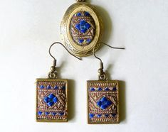 Jewelry set Tapestry Handmade Necklace and rectangular earrings