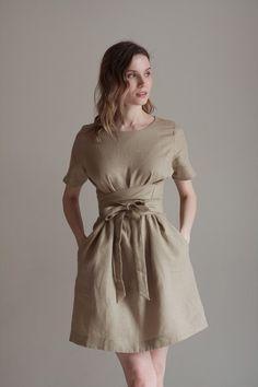 Dress For Summer, Summer Dresses, Jw Moda, Clueless Fashion, 2020 Vision, Linen Tunic, Linen Dresses, Yellow Dress, Boho Dress