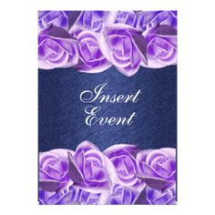 Purple blue wedding elegant roses custom invitations