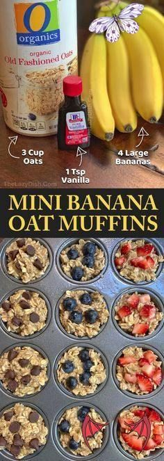 Healthy Banana Oat Muffins (3 Ingredients) - The Lazy Dish Looking for easy healthy snacks for kids to make? These on the go banana oat muffins are perfect for toddlers, kids AND adults! Just 3 ingredients! Even picky eaters will enjoy these fast little treats. These healthy banana oat muffins are great for school lunch, after school snacks or breakfast. Simple and yummy! No sugar, no flour and vegan. | The Lazy Dish #thelazydish<br> A healthy breakfast alternative, snack idea, lunch box… Oat Muffins Healthy, Breakfast Healthy, Eating Healthy, Healthy Snack Foods, Easy Healthy Desserts, Health Snacks, Healthy Breakfast Pregnancy, Healthy Drinks, Healthy Cooking