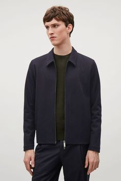 COS image 5 of Jacket with pointed collar in Navy