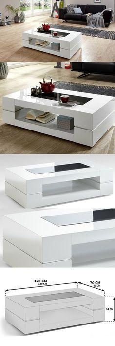 Couchtisch weiß Hochglanz mit Glasplatte Sera 120x70cm Glastisch Einrichten und Wohnen Wohnzimmer