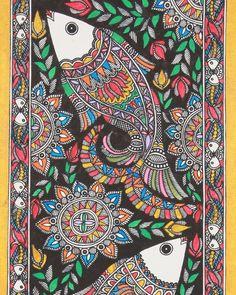 Fish Madhubani Painting from Bihar Pichwai Paintings, Indian Art Paintings, Mural Painting, Art And Illustration, Madhubani Art, Indian Folk Art, Esquivel, Madhubani Painting, Traditional Paintings