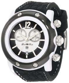 Glam Rock Unisex GK1111 Miami Beach Chronograph White and Black Dial Silicone Watch ♥