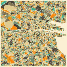 Poster | DUBLIN MAP von Jazzberry Blue