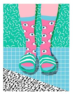 Chillax - memphis throwback style retro classic 1980s 80s grid pattern socks…