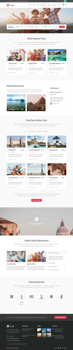 Buy Voyage - Travel & Tour Booking Theme by Mikado-Themes on ThemeForest. Buy Voyage today and set up your travel agency and tour booking website within minutes. Travel Website Design, Website Design Layout, Web Layout, Travel Design, Layout Design, Web Ui Design, Responsive Web Design, Tourism Website, Ui Web