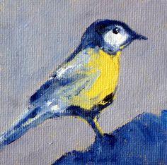 Miniature Wildlife Bird Painting Tiny Art 3x3 by smallimpressions, $25.00