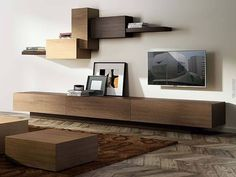 Modern Living Room TV Unit - Floating Console in the Living Room. Living Room Wall Units, Living Room Tv Unit Designs, Living Room Decor, Tv Wall Units, Floating Tv Unit, Floating Tv Console, Floating Tv Stand, Modern Tv Units, Tv Wall Decor