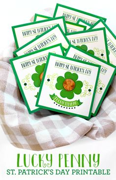 Patrick's Day Cards - See Vanessa Craft - Lucky Penny St. Patrick's Day Free Printable Lucky Penny St. Patrick's Day Free Printable Lucky - St Patricks Day Crafts For Kids, St Patrick's Day Crafts, Fun Crafts, Party Crafts, Happy Happy Happy, St. Patricks Day, Saint Patricks, Diy St Patricks Day Cards, Saint Patrick's Day