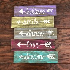 Rustic wood arrows sign | girls room decor | believe smile dance love dream | purple yellow grey pink turquoise