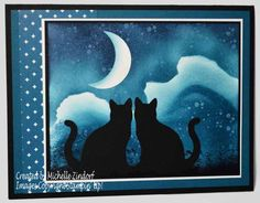 Sky Gazing - Stampin' Up! Card created by Michelle Zindorf - Timeless Textures, cat punch Sky Gazing, Halloween Cards, Halloween 2017, Spooky Halloween, Cat Cards, Animal Cards, Cards For Friends, Punch Art, Pretty Cards