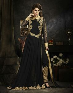 Black Faux Georgette Kameez With Pant 58698