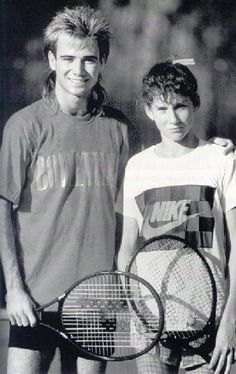 Young Andre #Agassi with Monica #Seles at #Bollettieri Tennis Academy