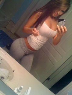 Curvy girl in yoga pants