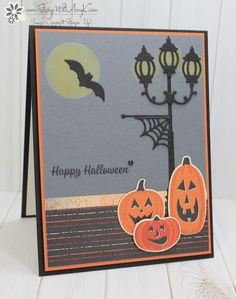 Amy Koenders, Independent Stampin' Up! Demonstrator in Alpharetta, Georgia (Atlanta).Let's make some cards! Halloween Paper Crafts, Up Halloween, Halloween Projects, Halloween Themes, Halloween Decorations, Christmas Lamp Post, Christmas Lanterns, Christmas Cards To Make, Thanksgiving Cards