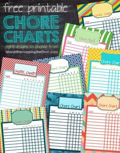 Start kids helping around the house with these: Free Printable Chore Charts | Eight different designs, instant downloads