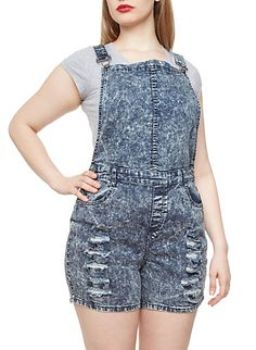 Plus Size Distressed Denim Overall Shorts