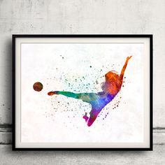 Woman soccer player 02 - Fine Art Print Glicee Poster Home Watercolor sports Gift Room Children's Illustration Wall - SKU 2290 by Paulrommer on Etsy