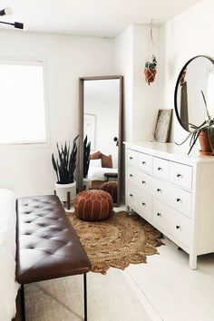 Wow you guys are AMAZING I don't even know what to say! The positive response on our bedroom refresh has felt incredible. Thank you so much for getti. Room Ideas Bedroom, Home Decor Bedroom, Simple Bedroom Decor, Boho Chic Bedroom, Bedroom Corner, Bench In Bedroom, Bedroom With Tv, Mirror In Bedroom, Scandinavian Bedroom Decor