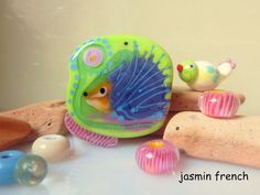 jasmin french ' visitors in the garden ' lampwork focal bead glass art set jewelry kit