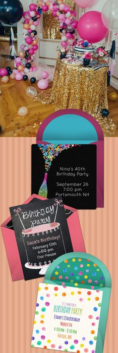 Paper invites are too formal, and emails are too casual. Get it just right with online invitations from Punchbowl. We've got everything you need for your birthday party.   http://www.punchbowl.com/online-invitations/category/47/?utm_source=Pinterest&utm_medium=27.2P
