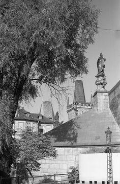 Pohled na Malostranské věže Karlova mostu (3951-3) • Praha, září 1965 •   černobílá fotografie, Karlův most z Kampy  • black and white photograph, Prague 