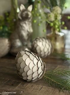 DIY Metallic pinecones with the Circle Punch from #marthastewartcrafts