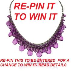 simply pin or re-pin this item and email      . . . diva-jewelry@live.com with a link to the board where you re-pinned and you are entered into the draw. winner will be announced on march 31st good luck    FREE SHIPPING WITH TRACKING