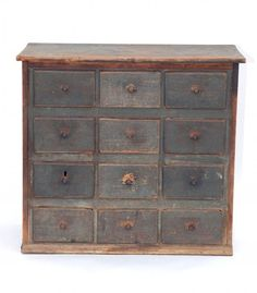 19th C Green Painted Apothecary Chest. 36 W 16.5 D 32 H. (7 images.)