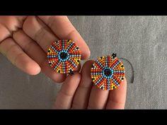 Seed Bead Jewelry, Seed Bead Earrings, Diy Earrings, Wire Jewelry, Beaded Earrings Patterns, Beading Patterns, Beadwork Designs, Embroidery Designs, Crochet Flower Tutorial