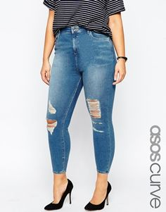 ASOS CURVE Ridley Skinny Jeans in Melody Wash with Jasmine Rips