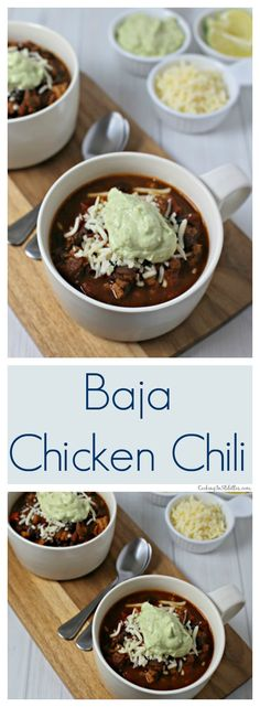 Baja Chicken Chili from CookingInStilettos.com is ready in 30 minutes but tastes like it simmered for hours. Southwestern flavors, spices & a hint of honey unite for the perfect chicken chili. | @CookInStilettos