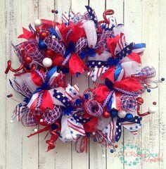 Deluxe Patriotic Wreath 30 by aDOORableDecoWreaths on Etsy